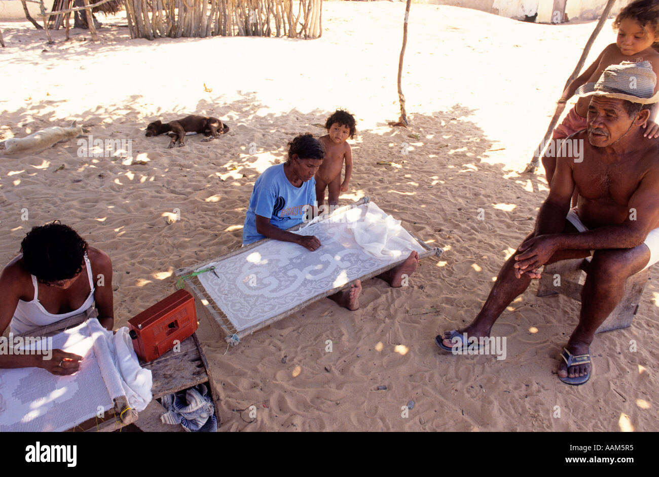 Lacemakers, family work at Canoa Quebrada city in Ceara State, Northeastern Brazil - traditional work, craftmanship for exportation. - Stock Image