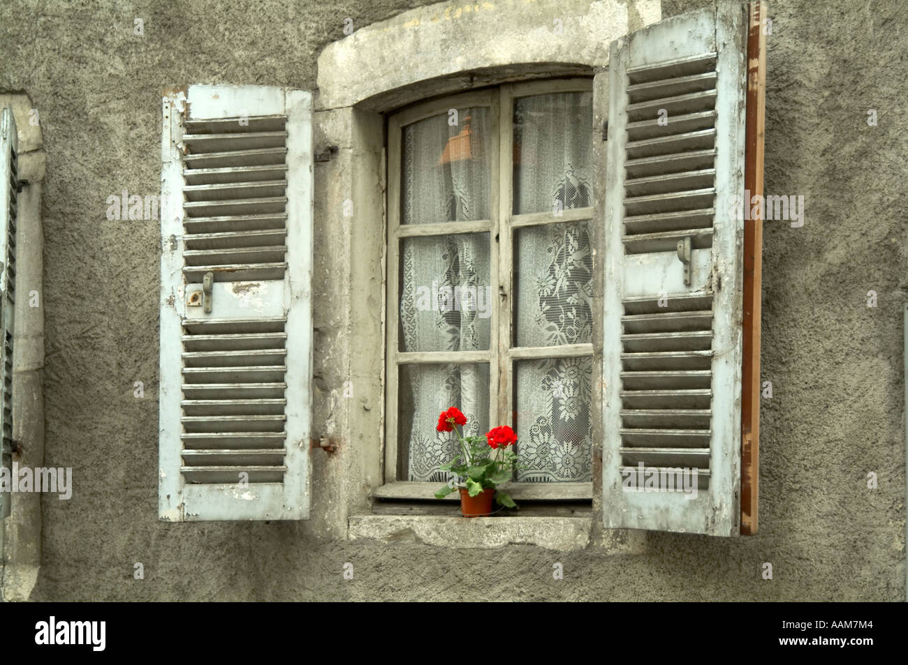 shutters, shuttered, windows, france, french, house, housing, south, of, france, european, - Stock Image