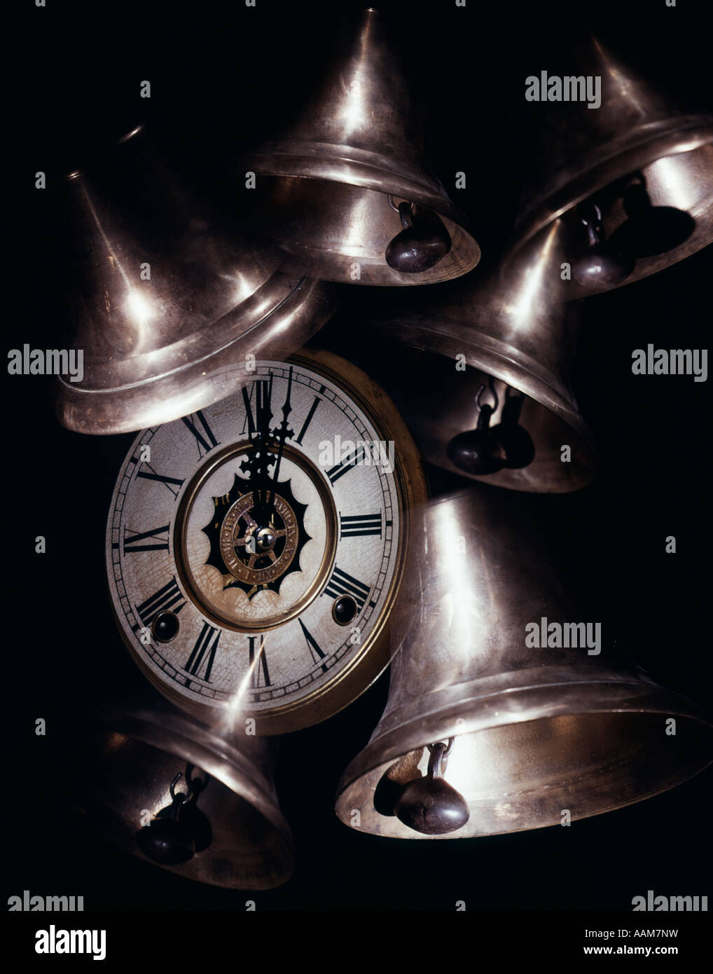 NEW YEAR BELLS AND CLOCK FACE MIDNIGHT CELEBRATION - Stock Image