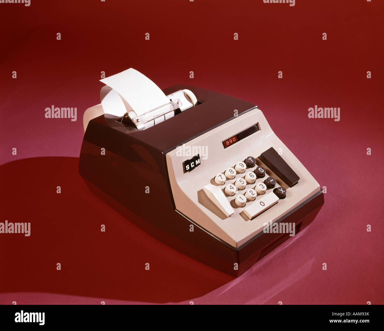 1960s 1970s OFFICE ADDING MACHINE SCM CALCULATOR EQUIPMENT TAPE - Stock Image