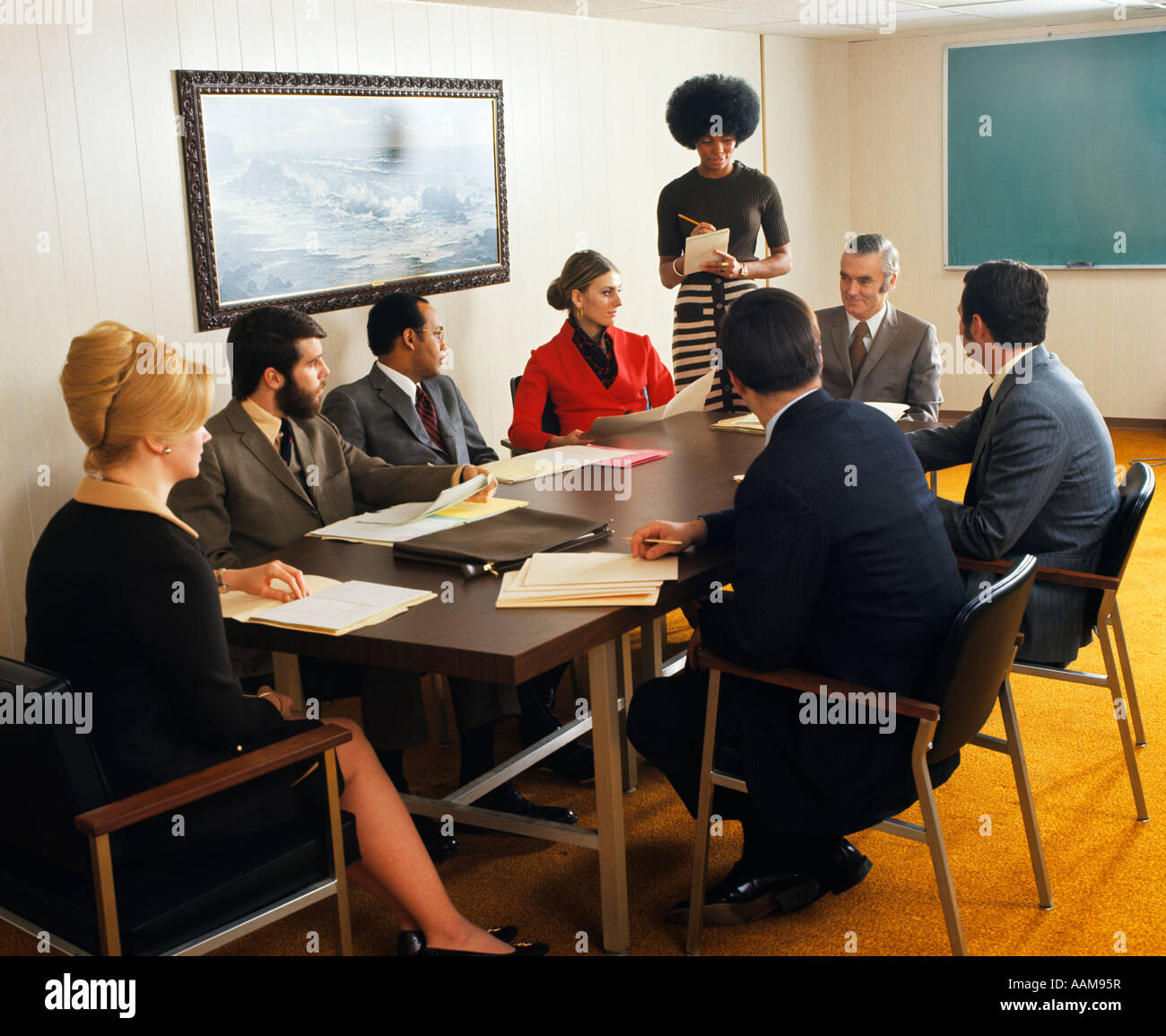 S PEOPLE MEN WOMEN CONFERENCE ROOM TABLE BOARD MEETING Stock - Standing conference room table