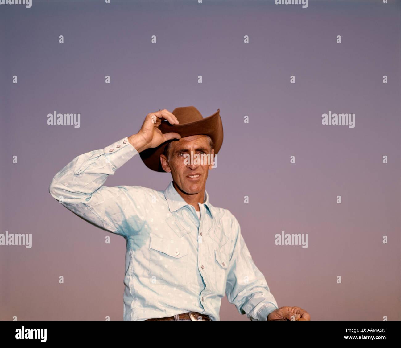 PORTRAIT MAN COWBOY HAT TILT 1960 1960s RETRO Stock Photo  12660320 ... d1126cdcc0b