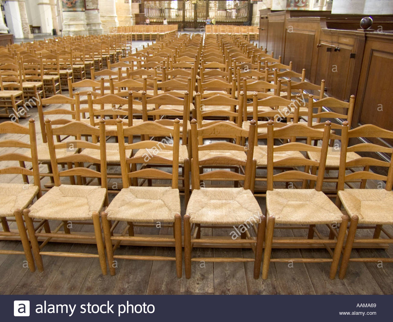 Old Style Chairs Lined Up In An Church St Bavo Holland