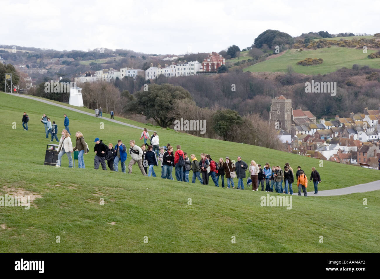 Invasion of French schoolchildren on cultural exchange visit Hastings East Sussex - Stock Image