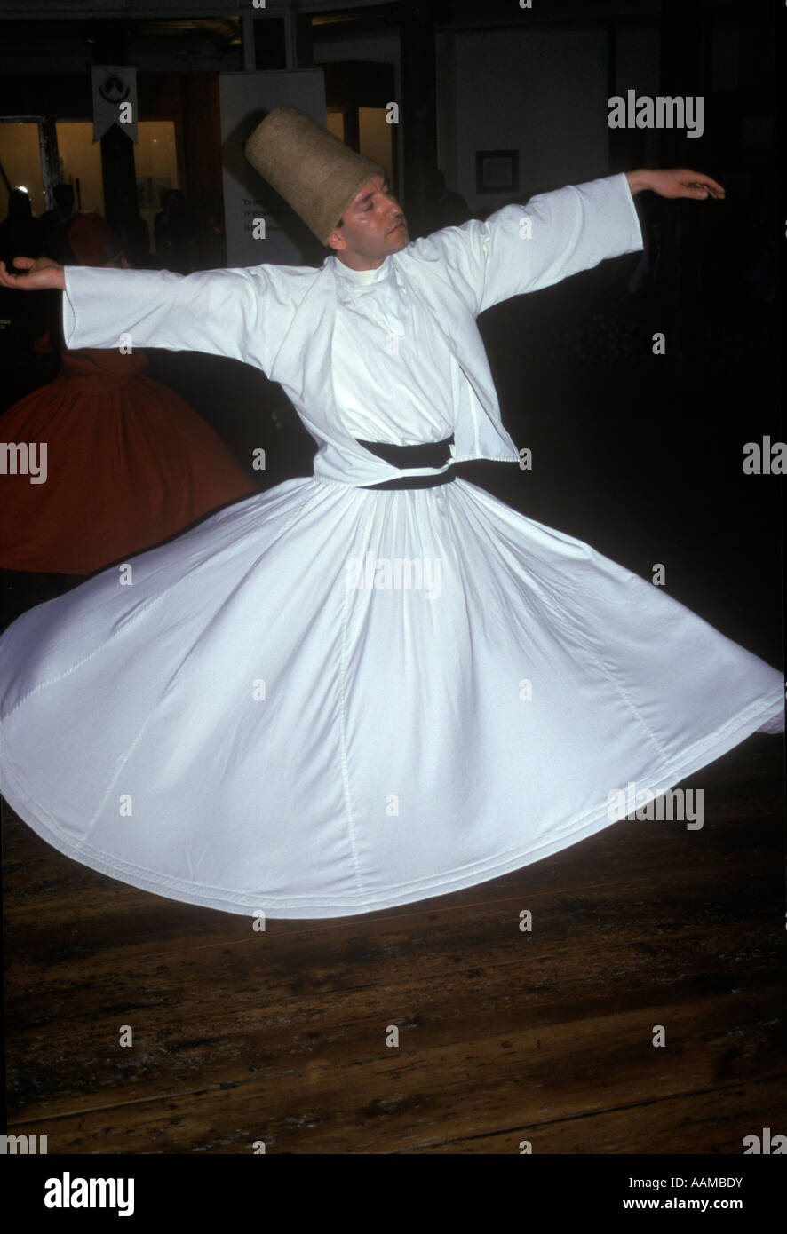 BEYOGLU ISTANBUL TURKEY WHIRLING DERVISH AT THE HALL OF DIVAN LITERATURE - Stock Image
