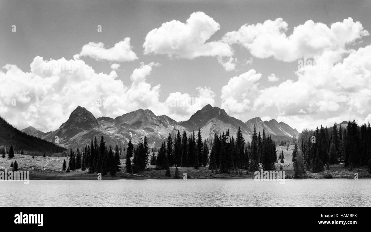 MOUNTAINS AND LAKE - Stock Image