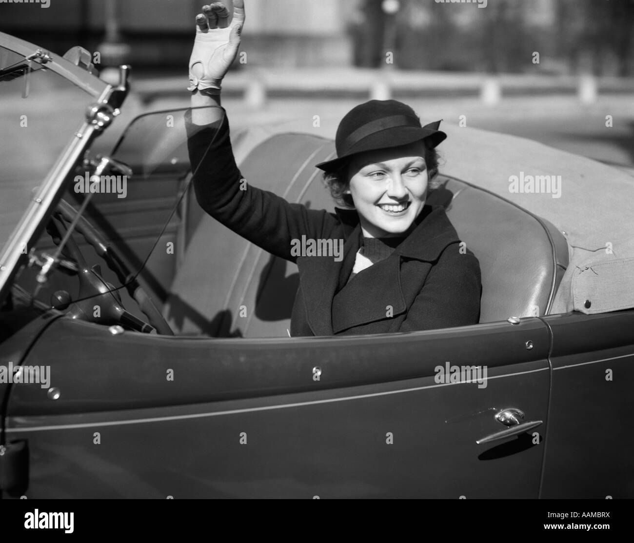 Woman Driving Convertible Black and White Stock Photos & Images ...