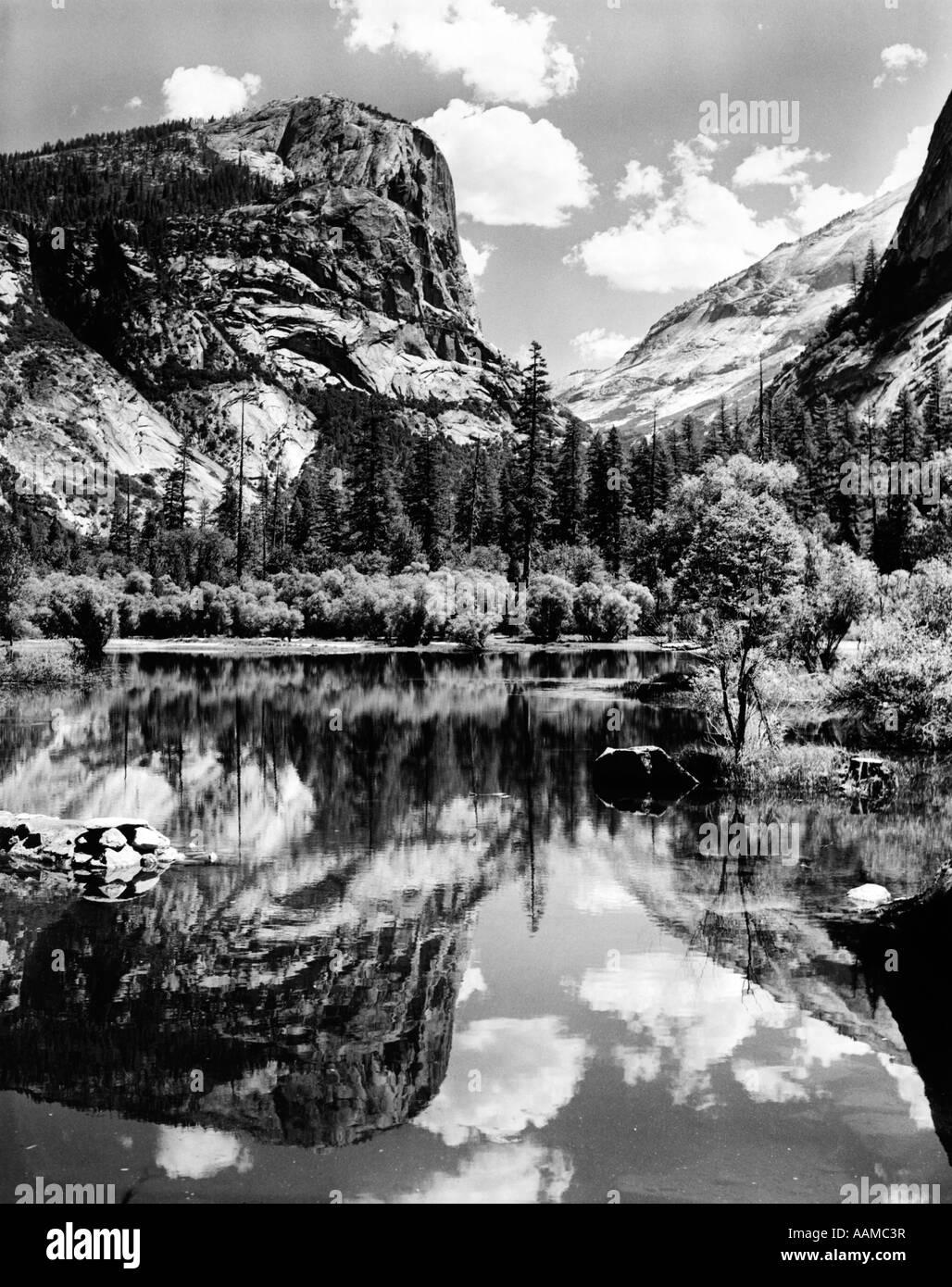MOUNTAINS LAKE REFLECTION - Stock Image