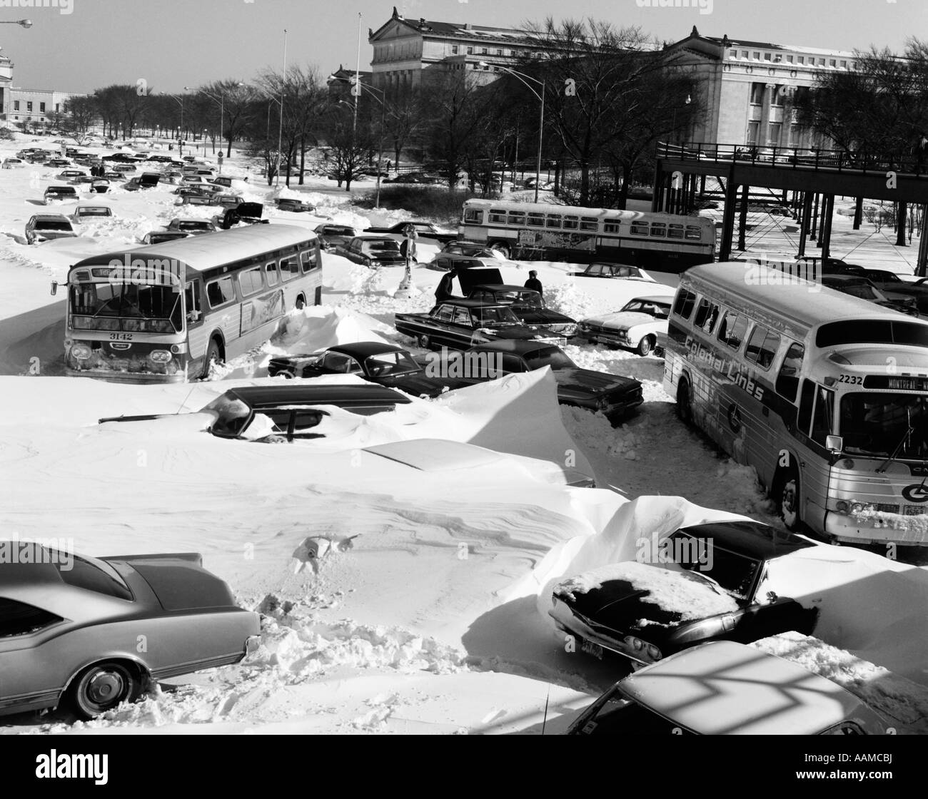 1960s OVERHEAD OF CARS AND BUSES STUCK IN DEEP SNOW