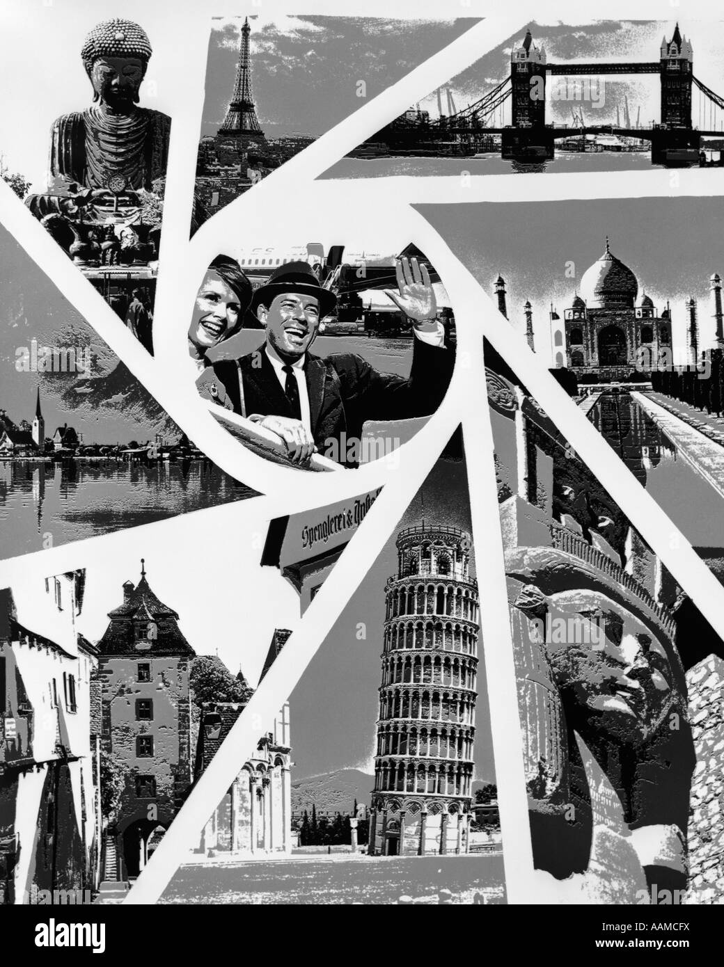 1970s LINE-TONE MONTAGE OF WORLD TRAVEL IMAGES IN EACH TRIANGULAR PANEL OF CAMERA SHUTTER WITH COUPLE AT AIRPORT - Stock Image