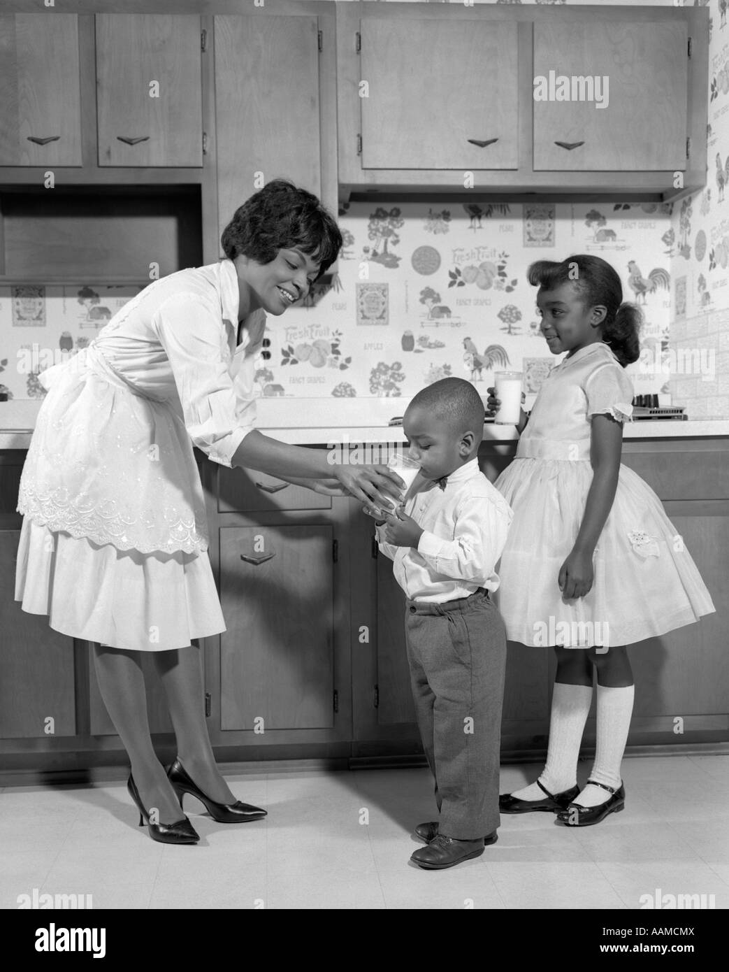 Unique 1960s SMILING AFRICAN AMERICAN WOMAN MOTHER IN APRON AND PUMPS  FM68