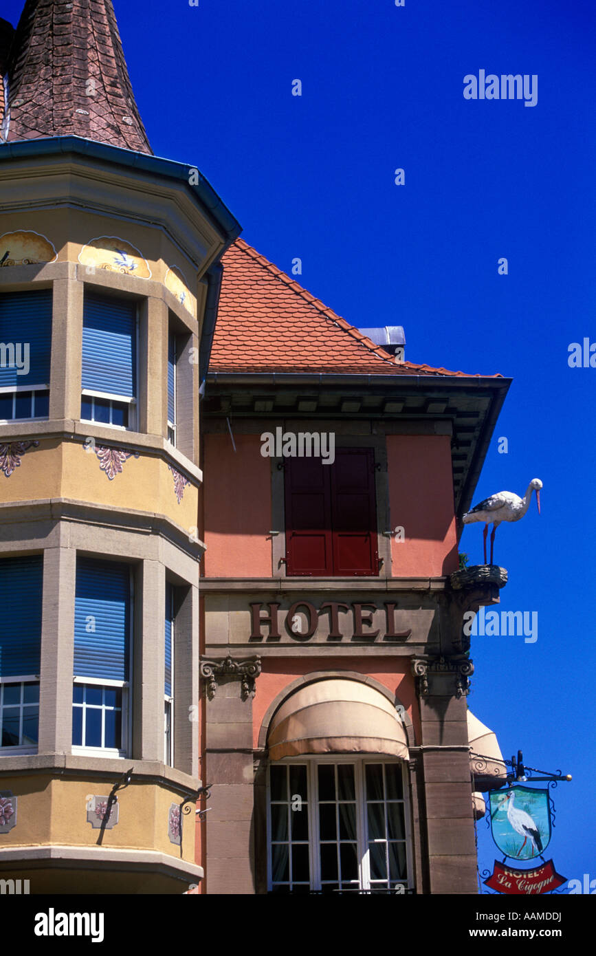 MUNSTER HAUTE RHIN FRANCE STORK HOTEL IN TOWN CENTER Stock Photo