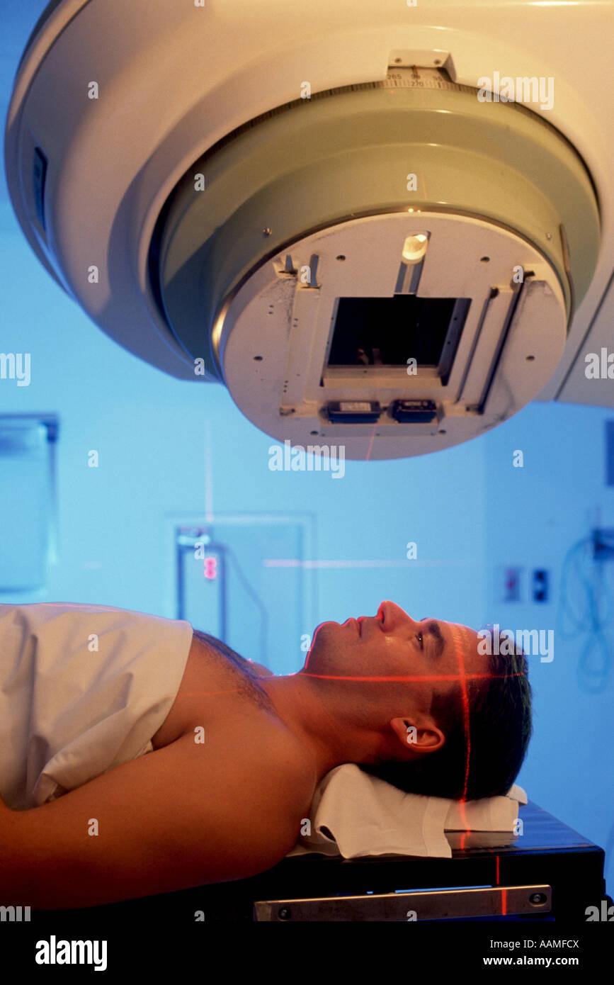 Man receiving radiation treatment at Ohio hospital - Stock Image