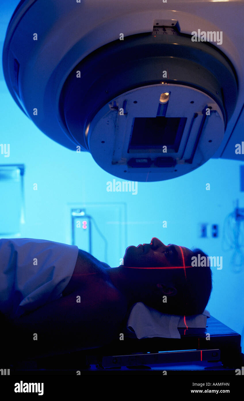 Cancer patient undergoing radiation therapy in Central Ohio hospital - Stock Image