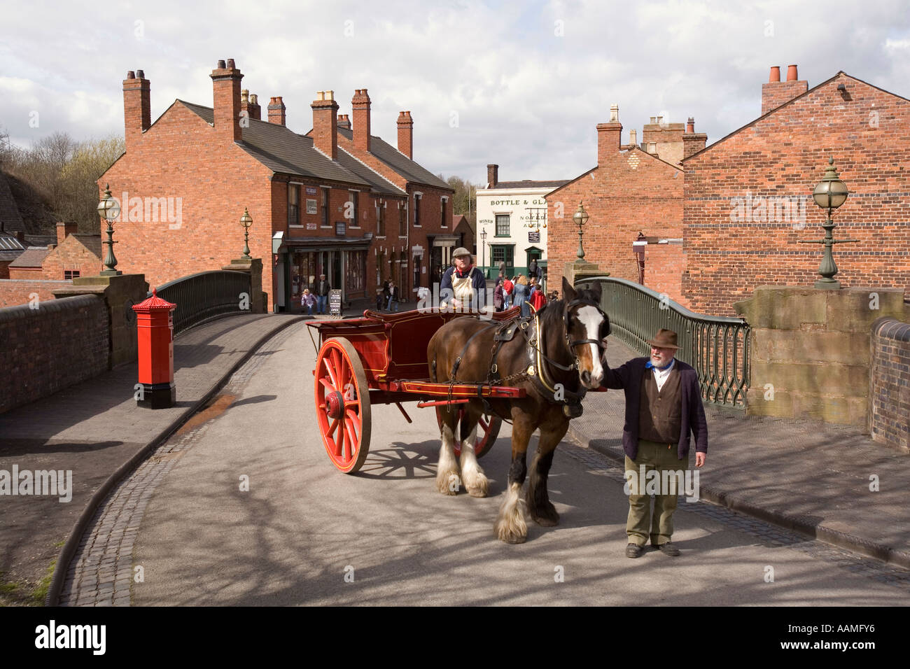 UK England West Midlands Dudley Black Country Museum shirehorse cart in the street - Stock Image