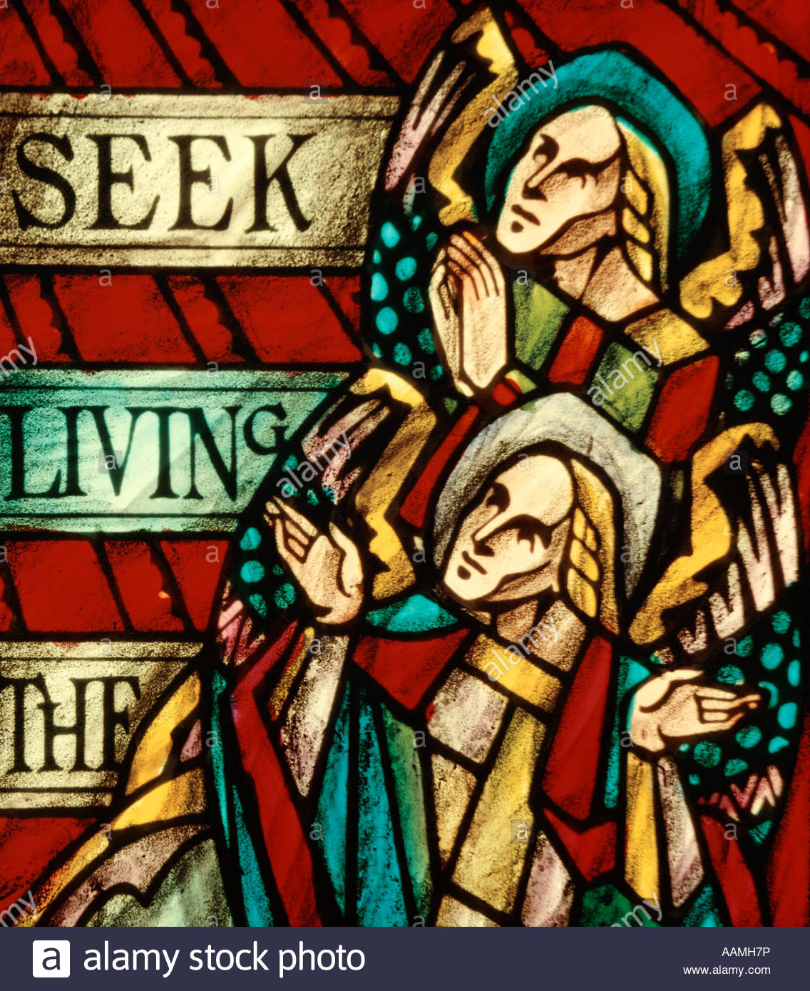 STAINED GLASS MESSAGE AT RESURRECTION WILLET ANGELS RETRO - Stock Image