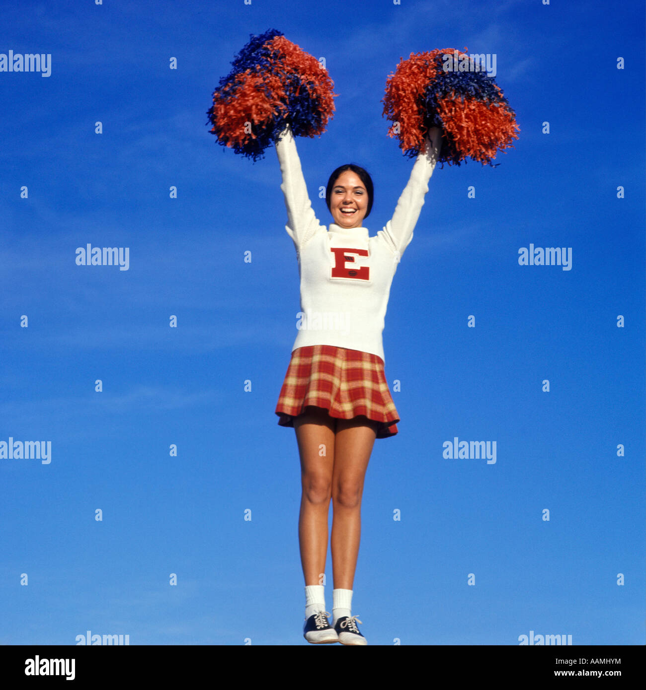 2c4e273c63 1960s TEEN GIRL CHEERLEADER FULL FIGURE HEAD TO TOE SADDLE OXFORD SHOES  PLAID SHORT SKIRT POMPOMS