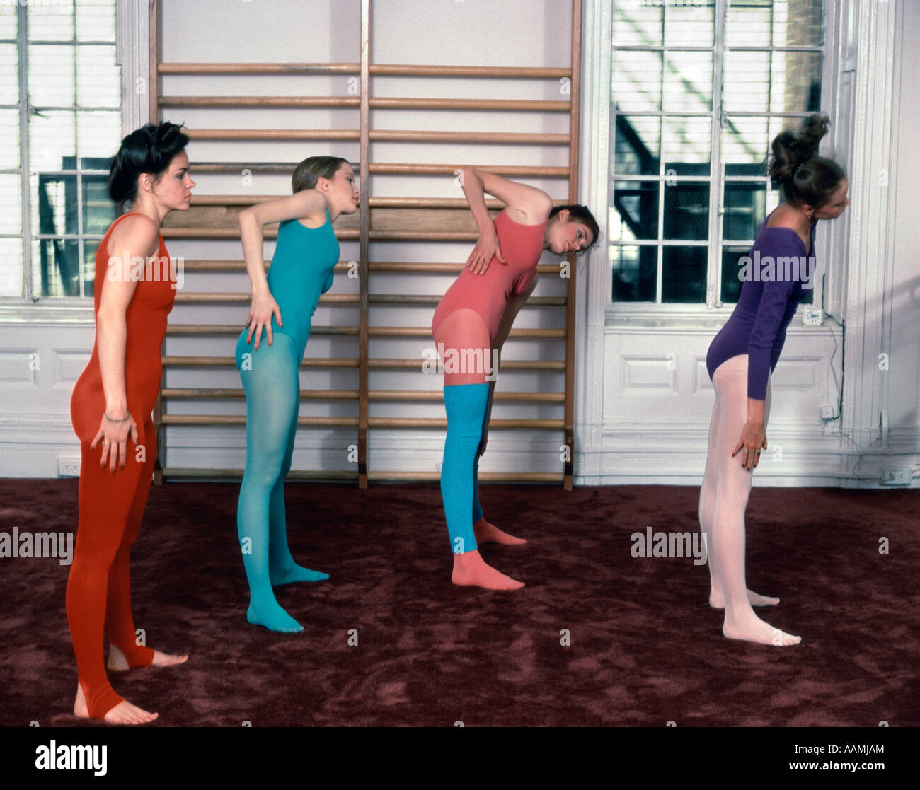 1970 1970s 4 WOMEN GROUP PASTEL LEOTARDS TIGHTS LEG WARMERS WARMING UP GYM  BALLET BAR STUDIO EXERCISE WARMUP AEROBICS 3330a453d6c