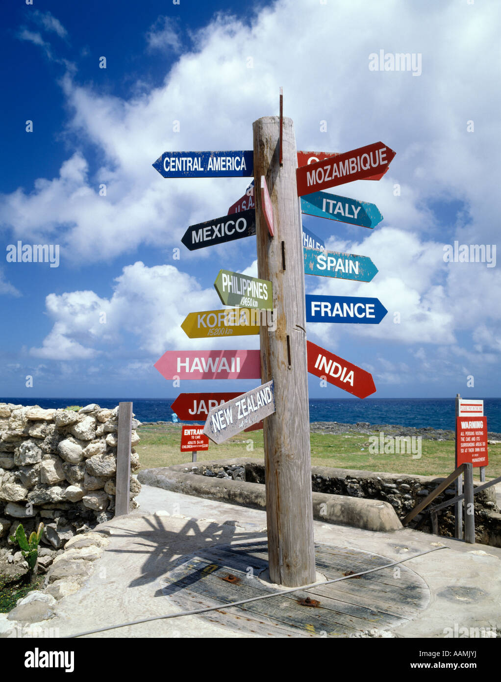 SIGN POST INDICATING DISTANCE IN KILOMETERS TO DIFFERENT COUNTRIES PARISH OF ST LUCY BARBADOS