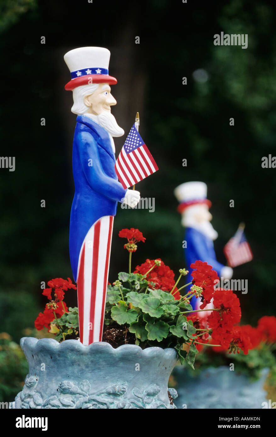 Uncle Sam with American Flag Americana  figurine - Stock Image