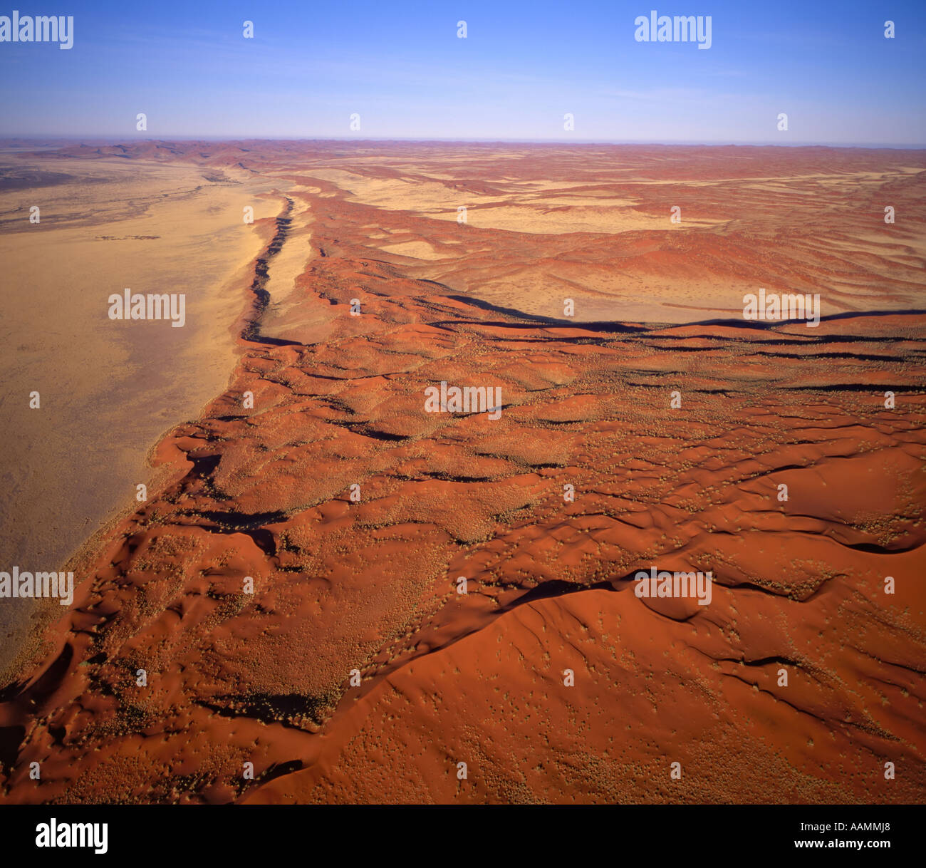 Linear sand dunes in the Namib Naukluft National Park, from Hot Air Balloon, Namibia - Stock Image