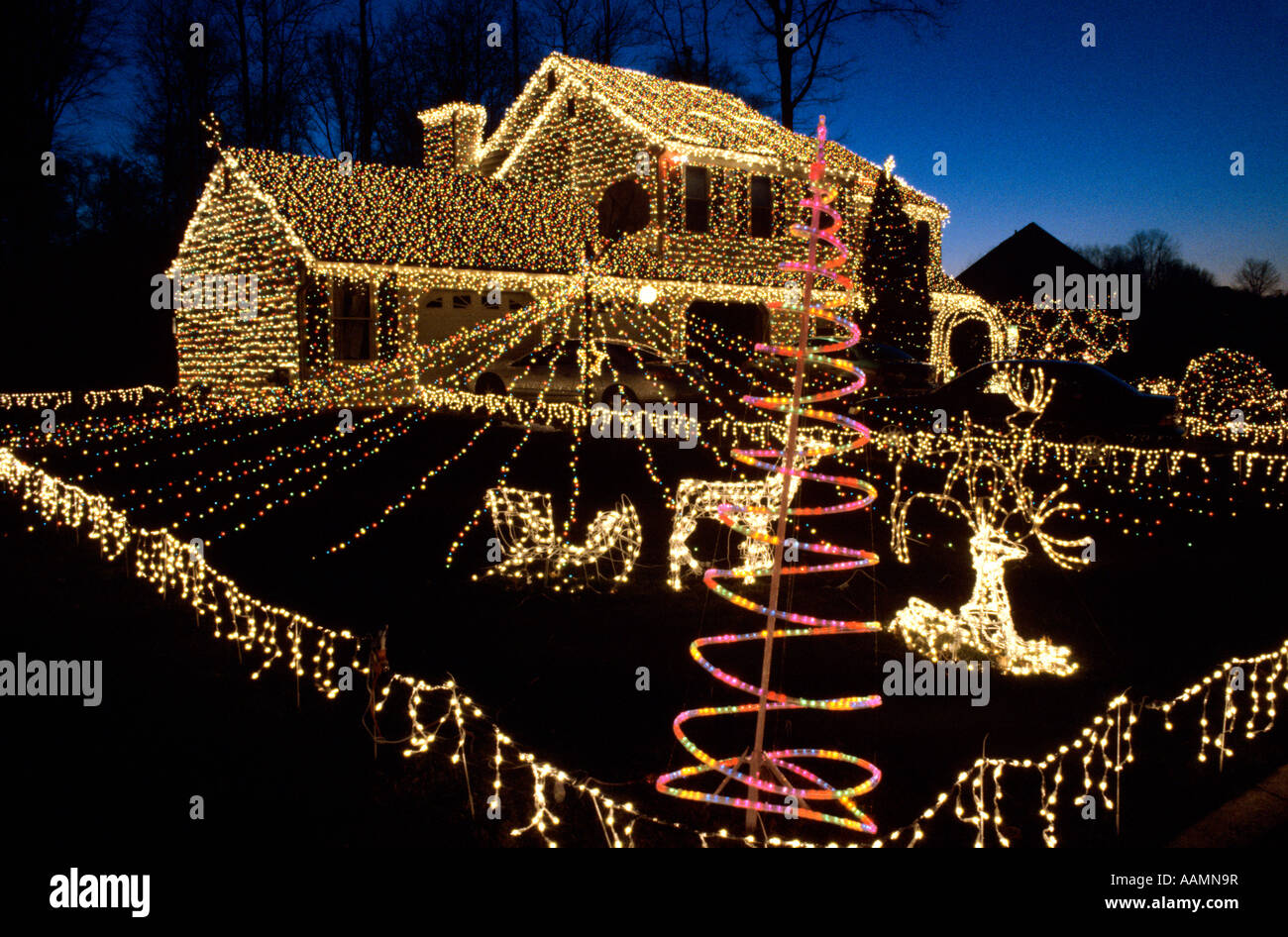 Christmas Lights In Pa.Christmas Lights West Goshen Chester County Pa Stock Photo
