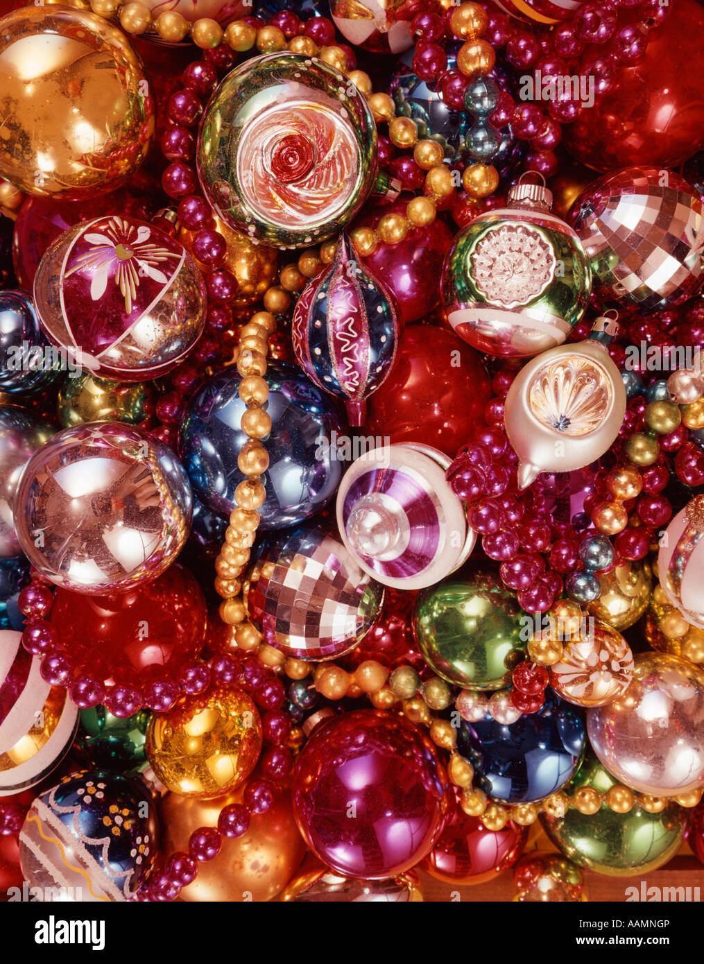 1970 1970s OVERALL PATTERN OF PILE OF CHRISTMAS TREE DECORATIONS ...