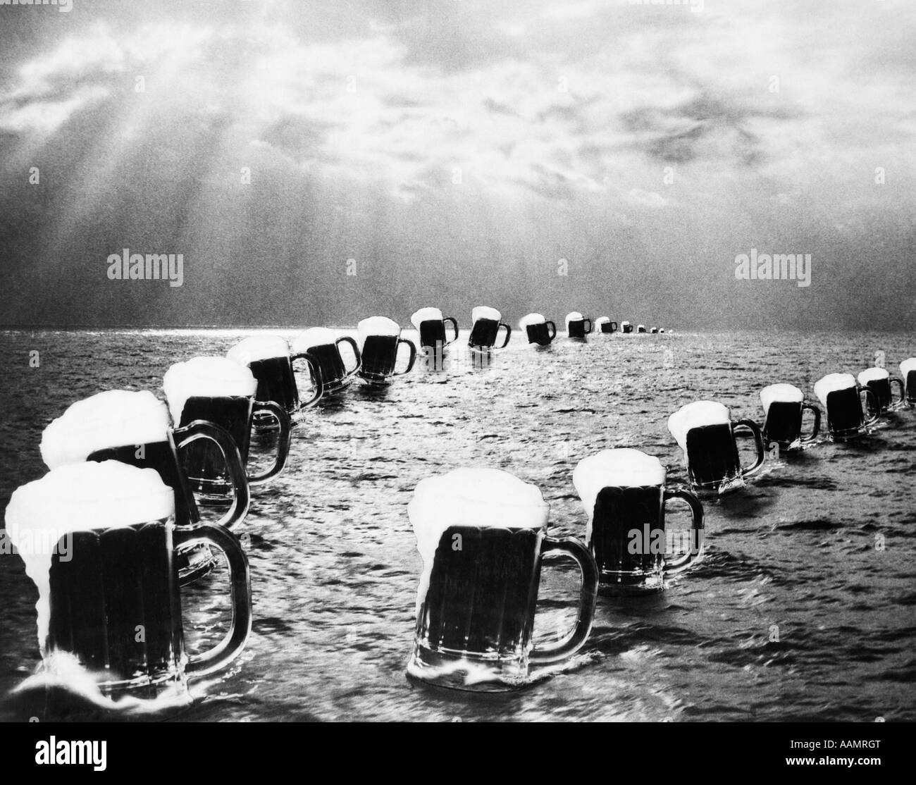 COMPOSITE PHOTOGRAPH MUGS OF BEER ON OCEAN AS SEEN IN BALLY HOO MAGAZINE CELEBRATING THE END OF PROHIBITION ON DECEMBER Stock Photo