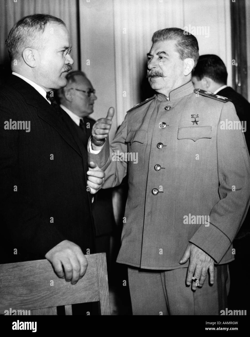 1940s JOSEF STALIN RUSSIAN LEADER WITH MOLOTOV YALTA CONFERENCE FEBRUARY 1945 - Stock Image