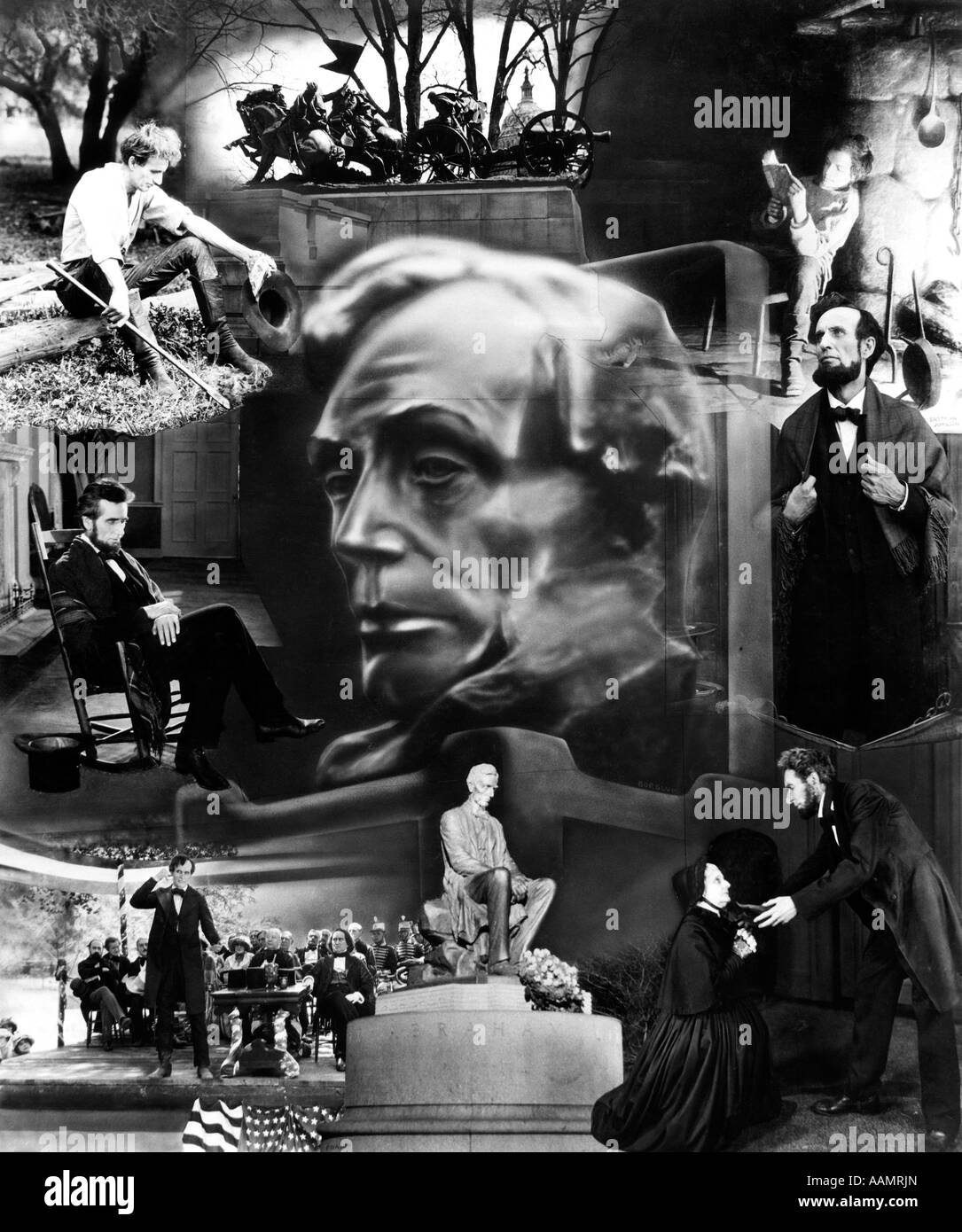 1930s MONTAGE OF SCENES FROM LIFE OF ABRAHAM LINCOLN - Stock Image