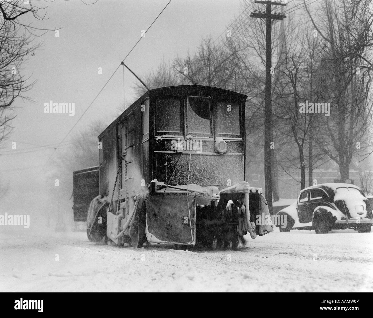 1930s 1940s SPECIAL TROLLEY CAR BRUSHING SNOW OFF TRACKS
