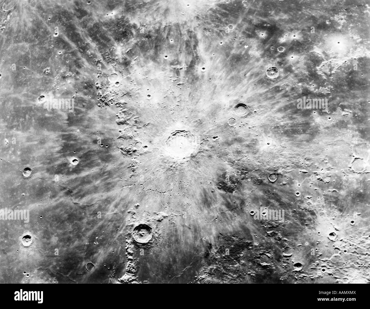 1960s CRATERS ON LUNAR SURFACE MOON COPERNICUS REGION - Stock Image