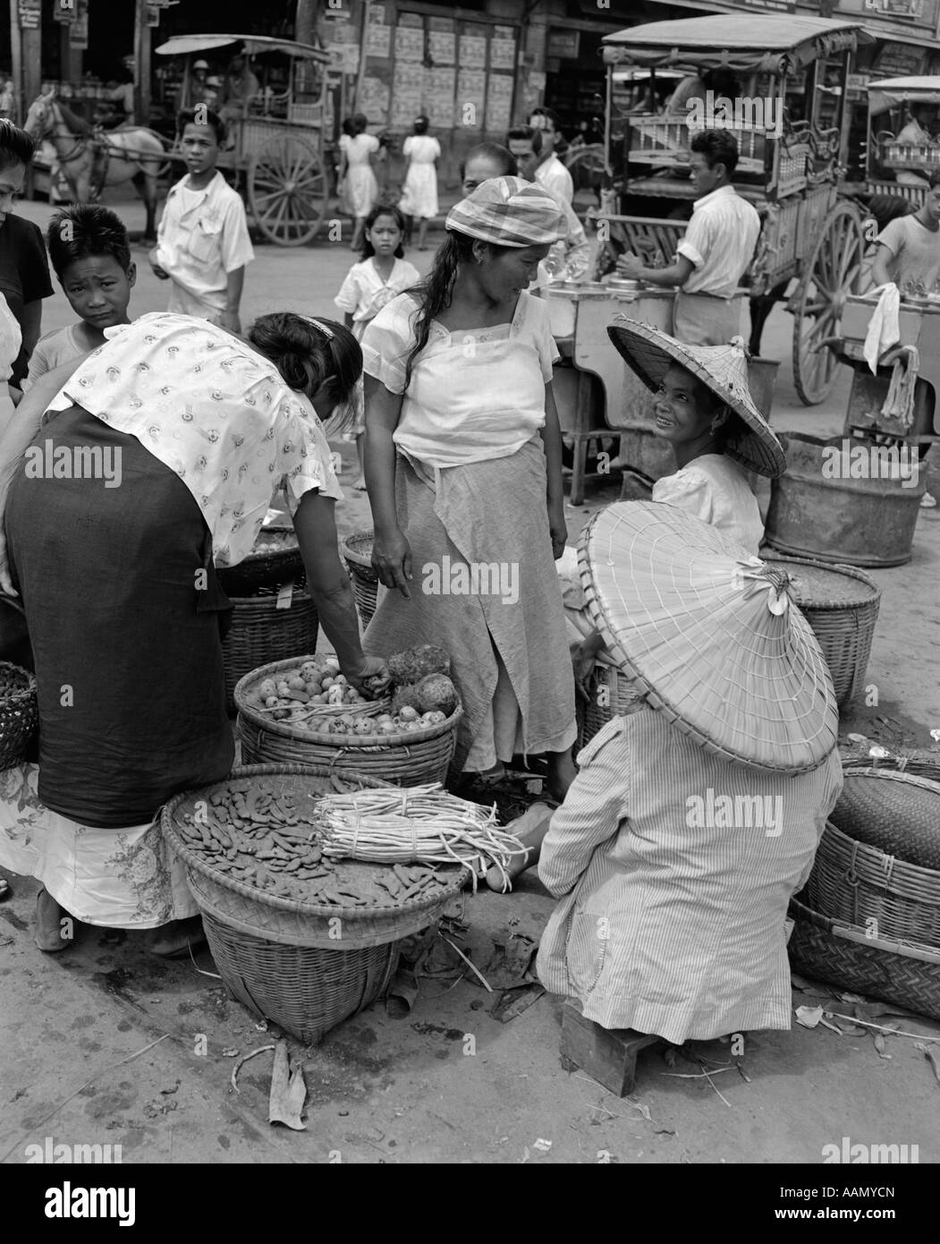 1930s 1940s Group Of Women In Native Food Vegetable Market