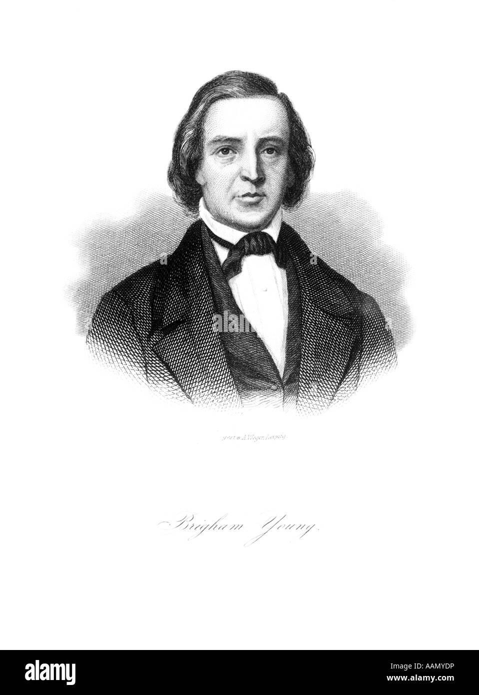 PORTRAIT BRIGHAM YOUNG 1801 - 1877 MORMON RELIGIOUS LEADER LED EMIGRANTS WEST SETTLED UTAH SALT LAKE CITY Stock Photo