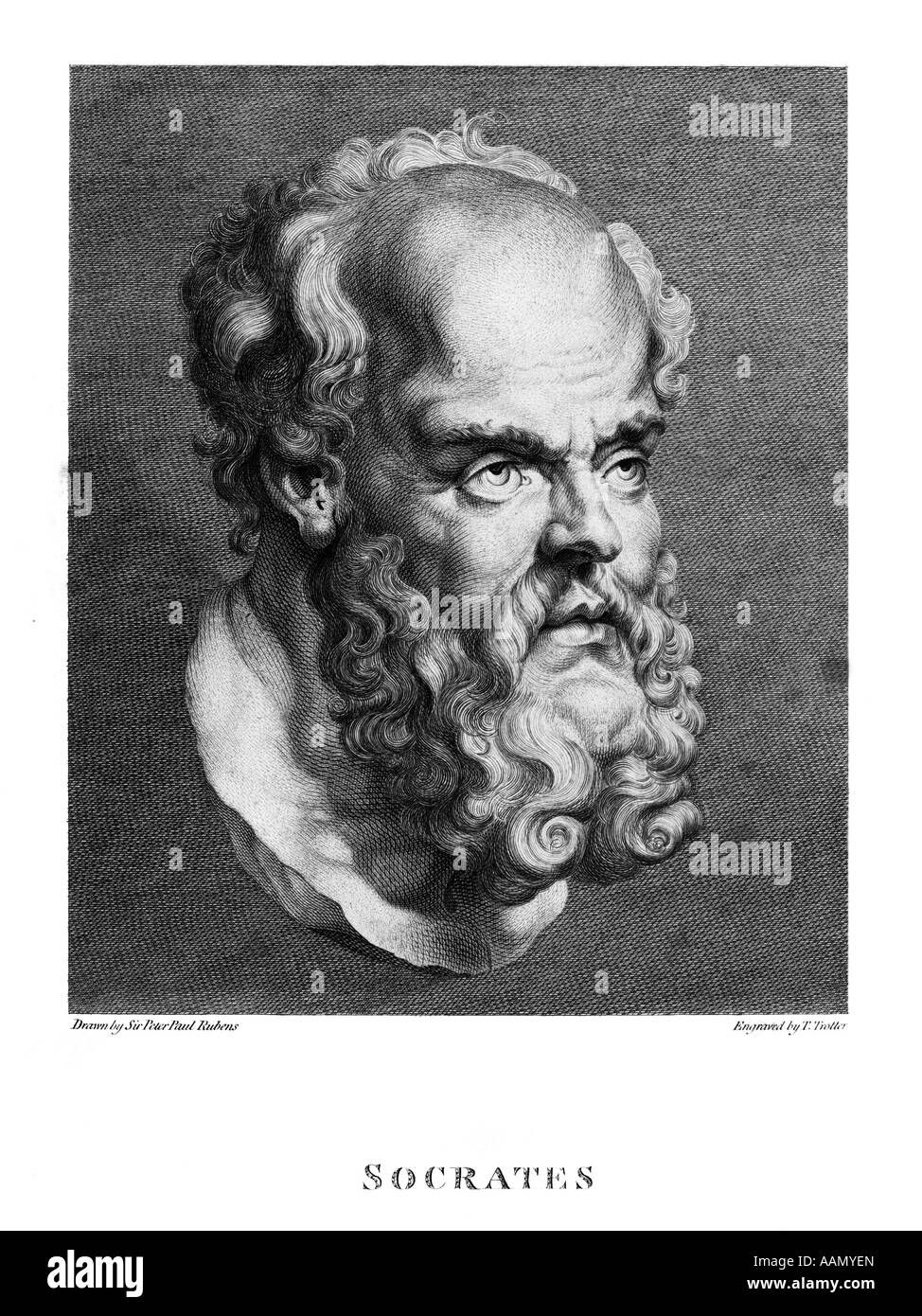 DRAWING OF A BUST OF SOCRATES GREEK PHILOSOPHER TEACHER INITIATED QUESTION & ANSWER METHOD OF SELF KNOWLEDGE - Stock Image
