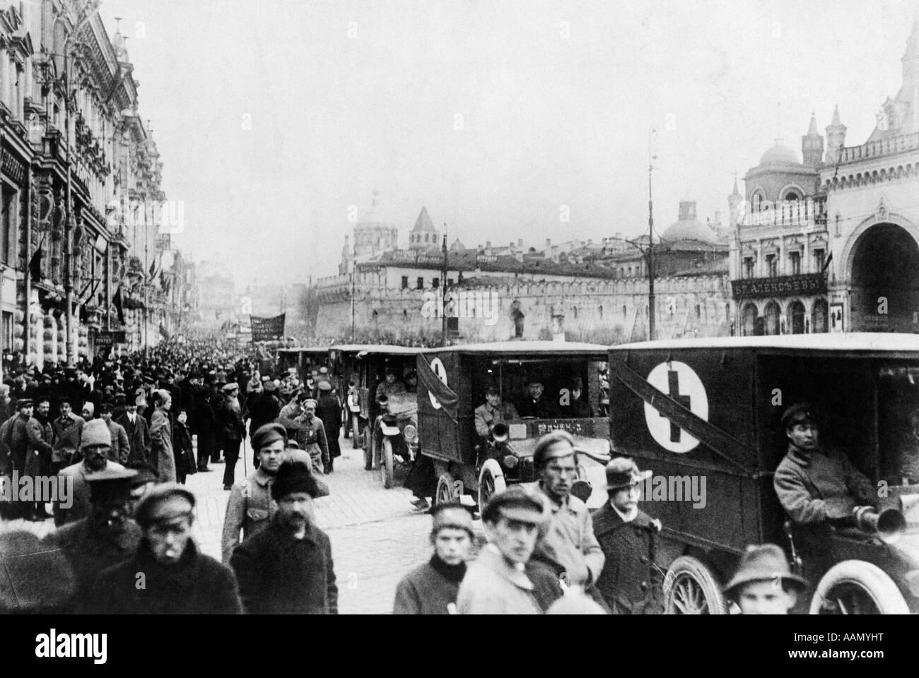 1910s 1917 PETROGRAD REVOLUTIONIST ST. PETER & PAUL RUSSIAN REVOLUTION RED CROSS AMBULANCES FROM WORLD WAR I - Stock Image