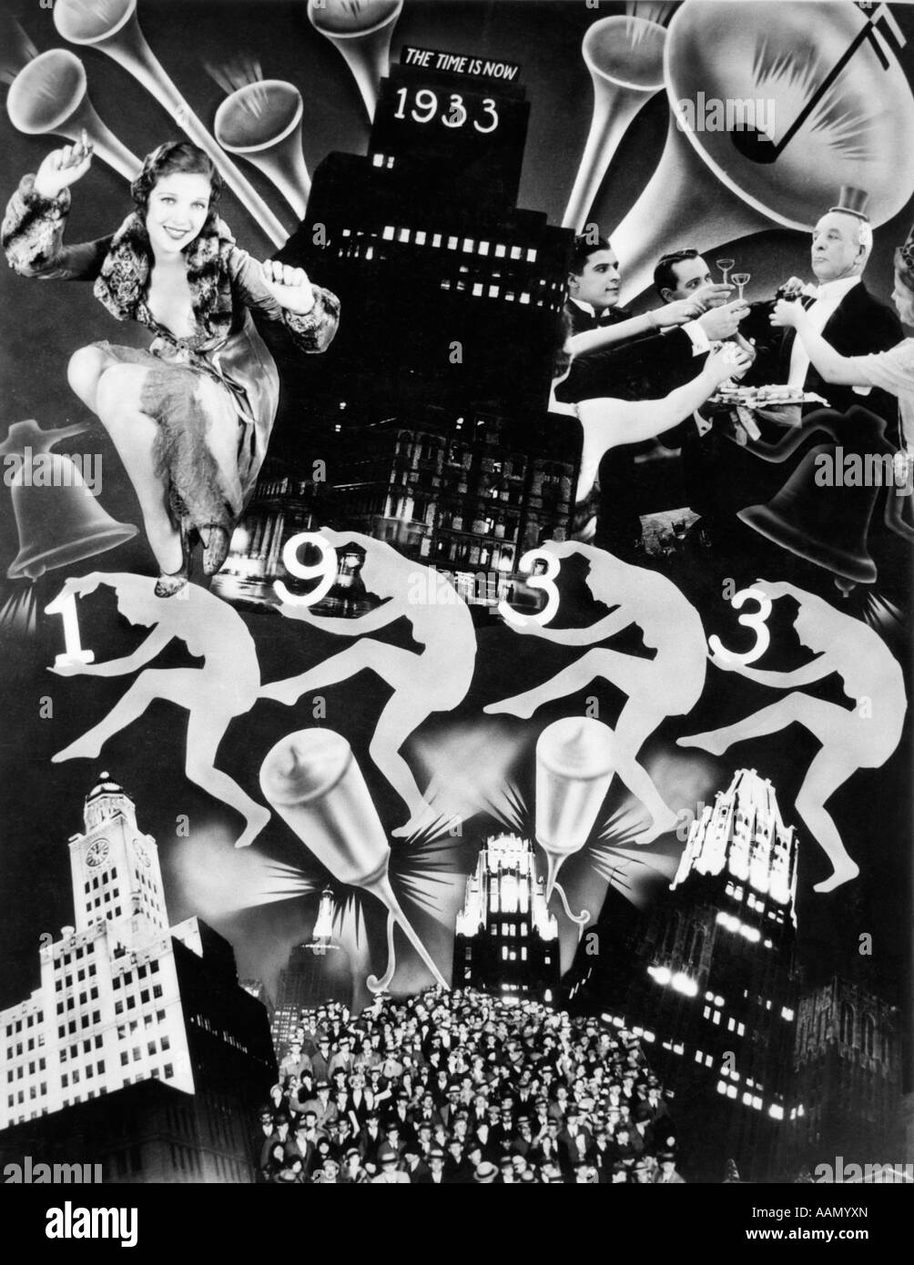 1930s MONTAGE OF HAPPY NEW YEAR 1933 DEPRESSION ART DECO COLLAGE - Stock Image