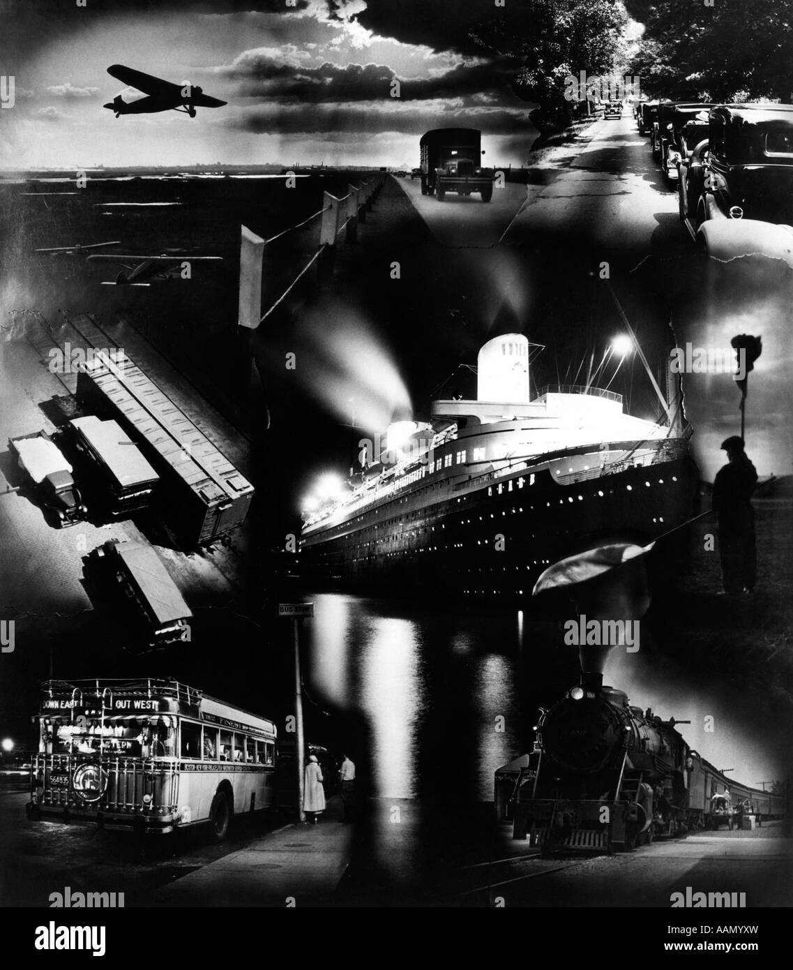 1930s MONTAGE OF TRANSPORTATION IMAGES AIRPLANE RAILROAD TRAIN BUS TRUCK AUTOMOBILE OCEAN LINER - Stock Image
