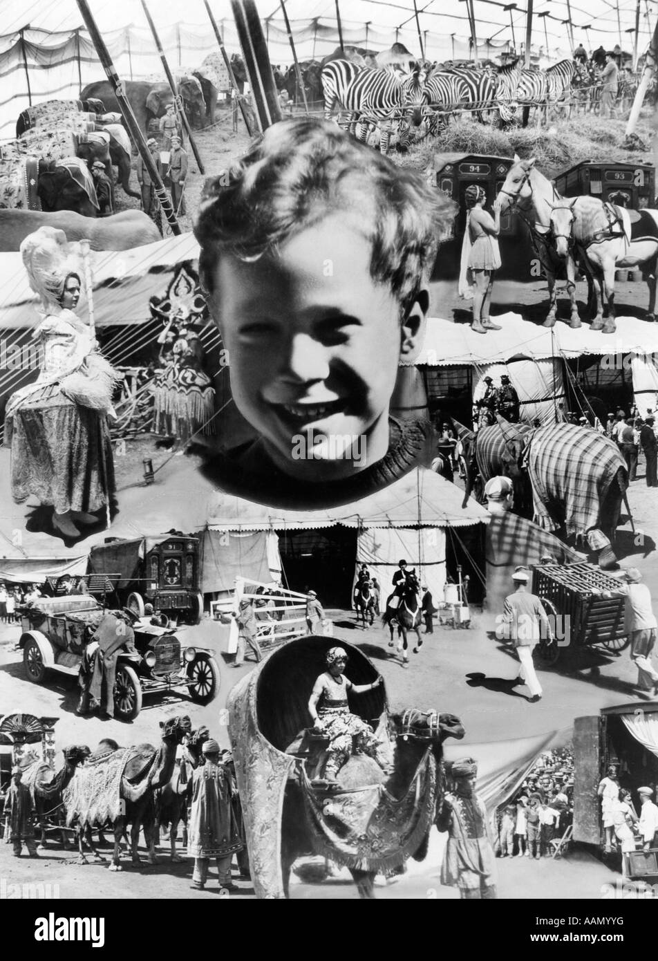 1930s MONTAGE OF CIRCUS IMAGES AROUND SMILING FACE OF BOY - Stock Image