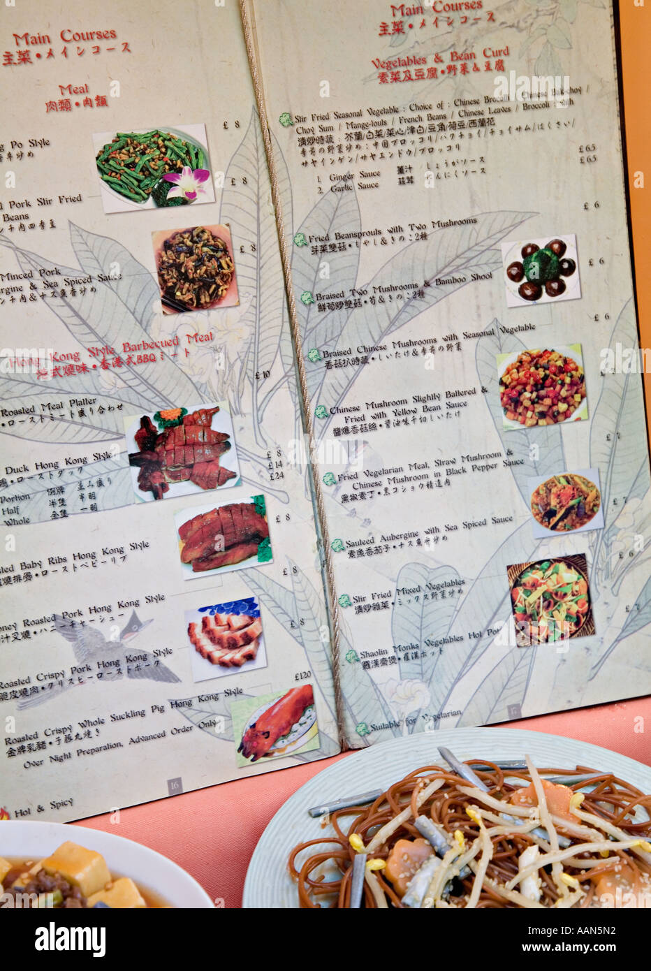 Chinese food menu stock photos chinese food menu stock images alamy bilingual chinese english menu with food on plates in restaurant cardiff bay wales uk stock forumfinder Choice Image