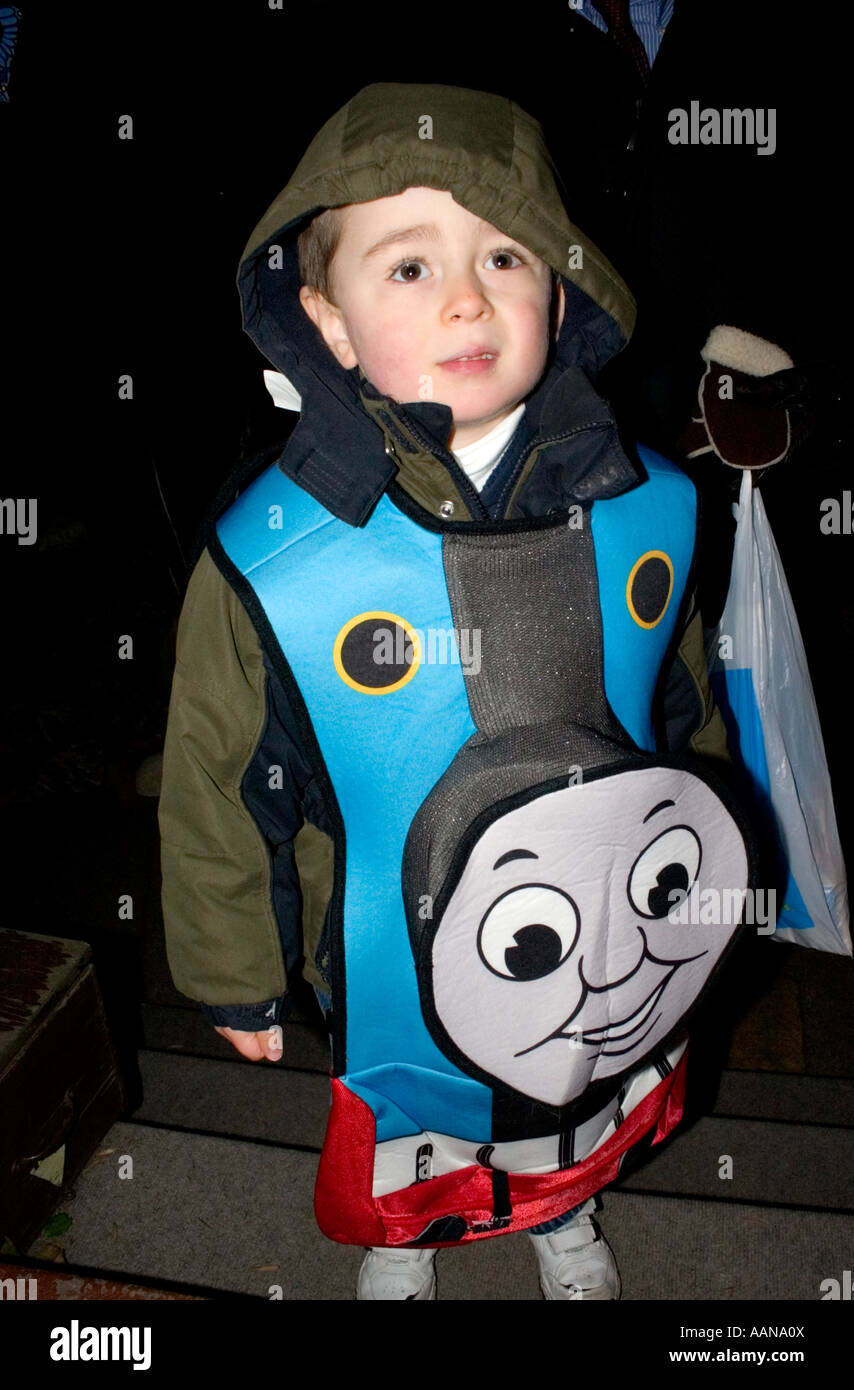 Trick or treater wearing Thomas the Train costume for Halloween. St Paul Minnesota USA  sc 1 st  Alamy & Trick or treater wearing Thomas the Train costume for Halloween. St ...