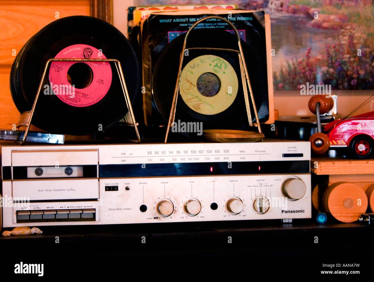 Racks of vintage 45 rpm vinyl records.  Emily Minnesota USA - Stock Image