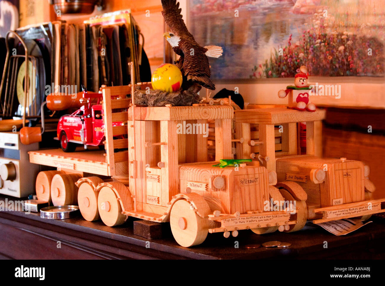 Toy handmade trucks and vintage 45 rpm vinyl records a step back into time.  Emily Minnesota USA - Stock Image