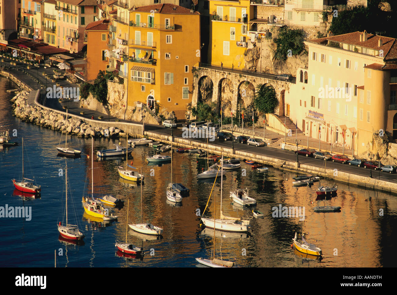 Villefranche sur Mer, Cote d'Azur, Provence, French Riviera, South of France at dusk - Stock Image