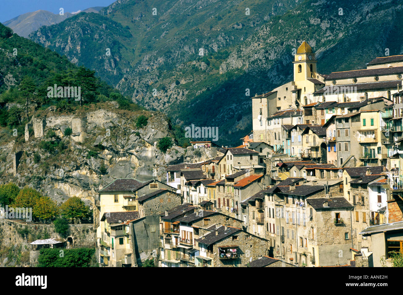 Village of Saorgue, Alpes-Maritimes, France, Europe - Stock Image