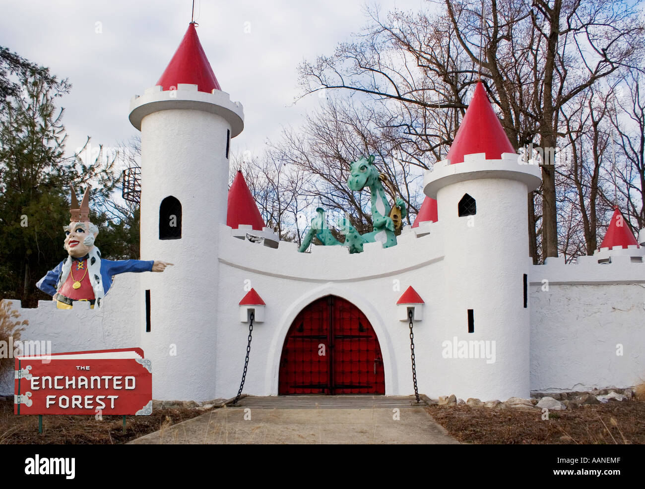Entrance to the closed fairy tale themed amusement park the Enchanted Forest in Ellicott City Marland - Stock Image
