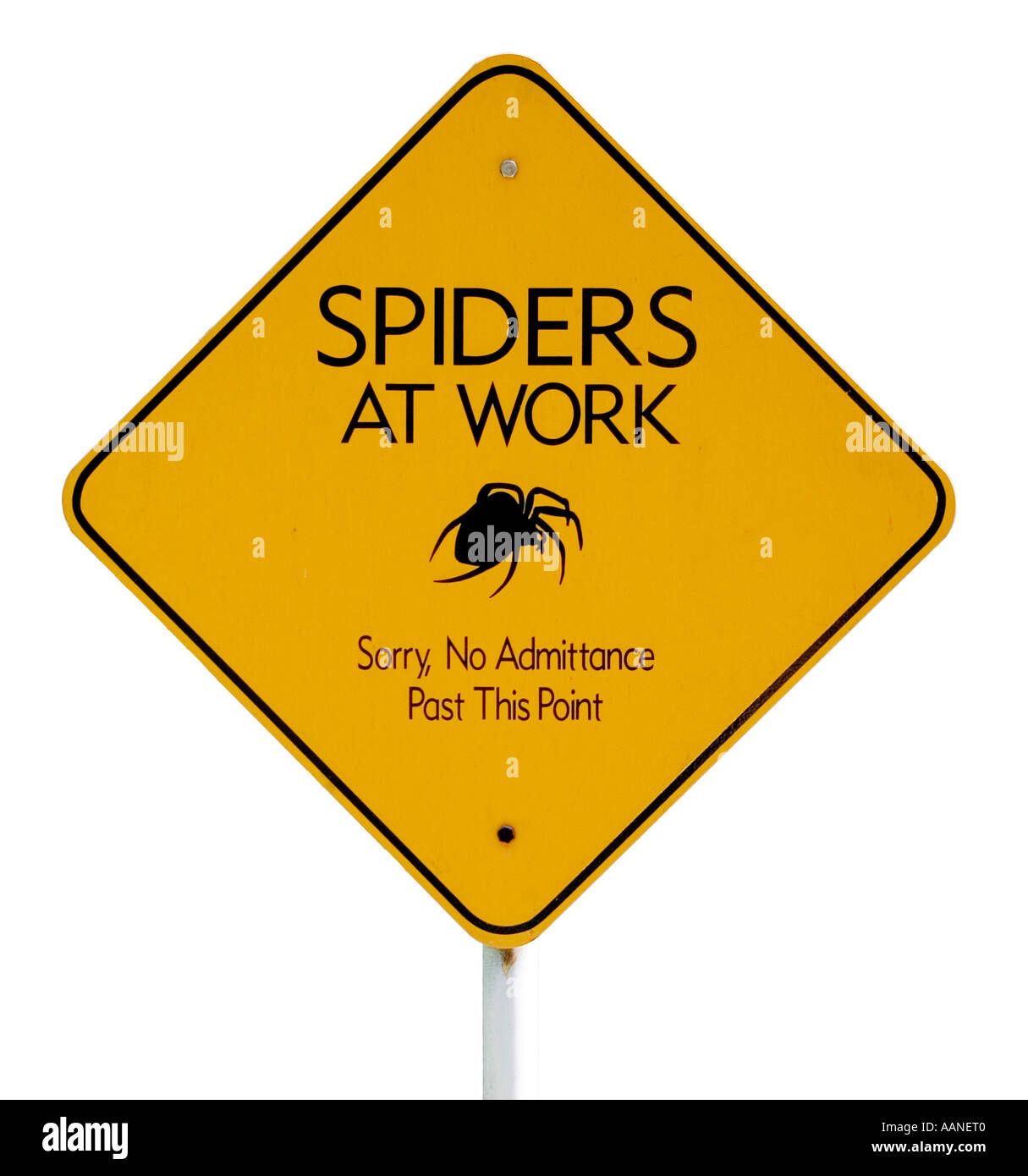 Spiders at Work sign at the worlds only spider web farm in Williamstown Vermont - Stock Image