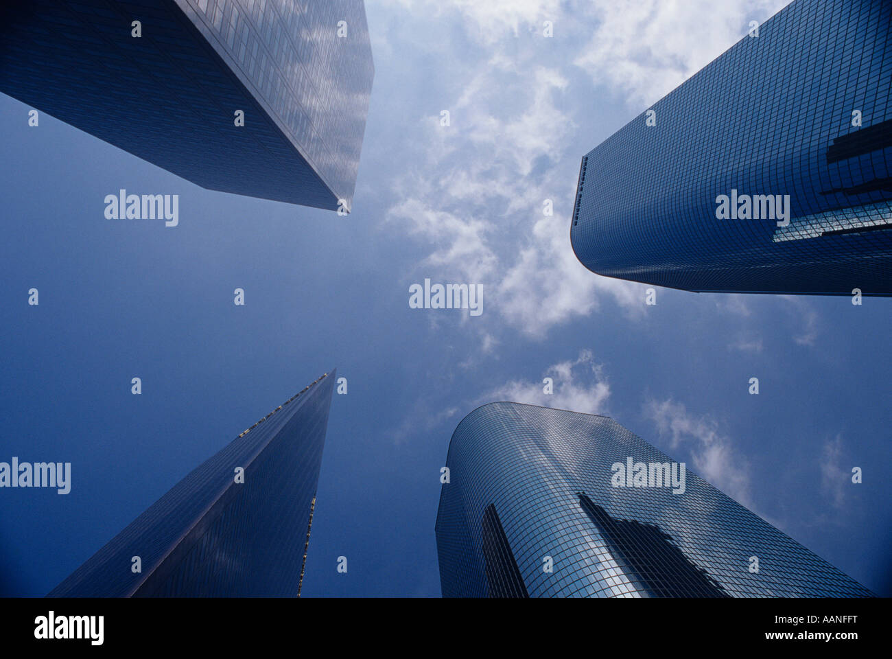 Downtown district with glass office buildings with reflections financial district Los Angeles California USA - Stock Image