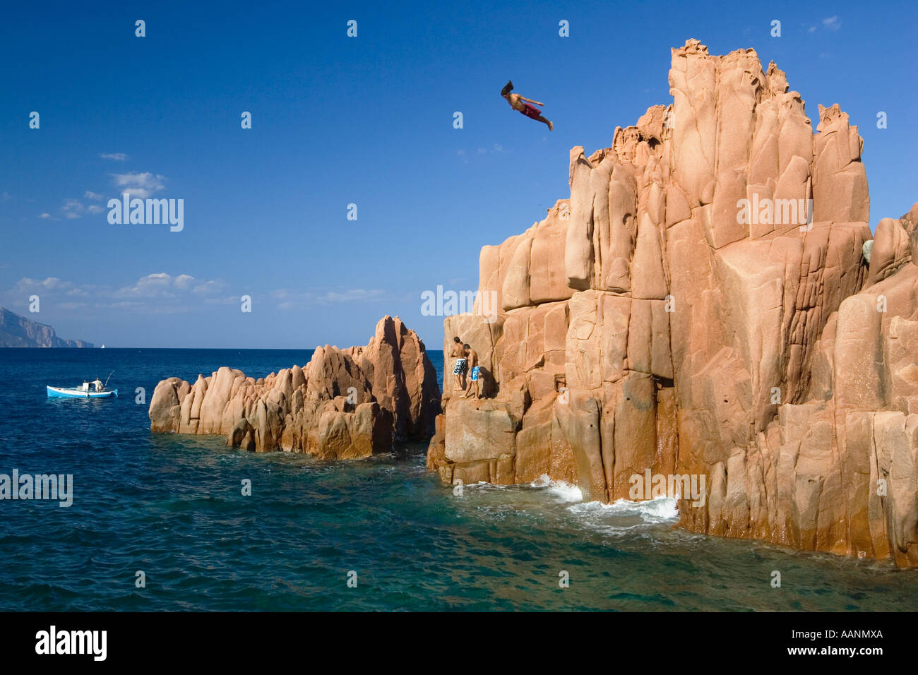 Pink rock at Arbatax, Sardinia, Italy - Stock Image