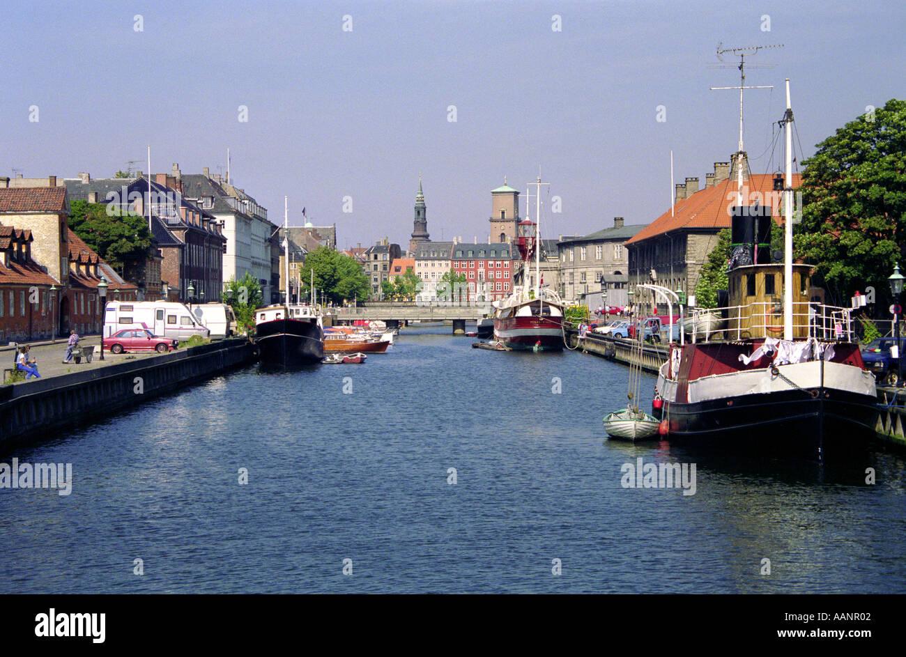 Canal viewed from Christians Brygge Copenhagen Denmark - Stock Image